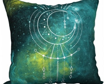 Green Celestial Bohemian Pillow - Moon Phase Geometry Throw Pillow - Watercolor Constellation Nebula Toss Pillow - Boho Bedroom Decor Gift