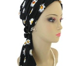 "Daisies On Black Jersey Scarf Turban Extra Long 18"" Ties 