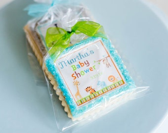 animal jungle baby shower cookie favors