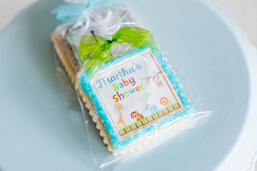 animal jungle baby shower cookie favors by stonehouseoven on etsy