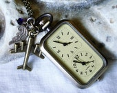 Dual Time Zone Pocket Watch Air Force Army Navy Marine Coast Guards Military Dual Clock Necklace - Double Clock Military Wife C 9-12