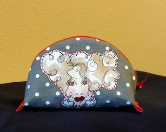 Small Zippered pouch, dumpling pouch, lined pouch, Loralie design womans whimsical face, gray,  white,red, cosmetic pouch
