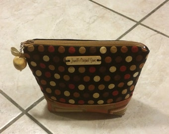 Makeup Pouch, zippered cosmetic bag, toiletry storage, shades of brown, polk a dots,  beaded pull