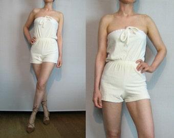 70s 80s IVORY COTTON Velour Vintage Off White Cream Neck Tie Shorts Onesie Romper Jumpsuit xs Small s/m 1970s 1980s