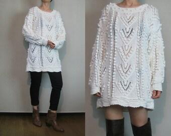 80s CHEVRON POPCORN Knit Vintage Chunky White Cotton Pointelle Long Sweater Mini Dress Small Medium 1980s