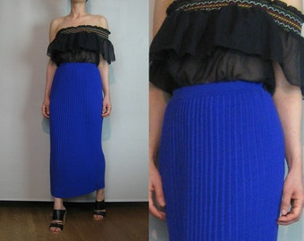 80s Nwt PLEATED KNIT MAXI Vintage Blue Blue-y Purple nos Knitted Sweater Pencil Maxi Wiggle Skirt Small Medium m/l 1980s