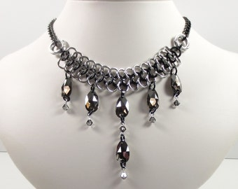 Swarovski Crystal and Chain Mail Necklace, Black and Silver Jewelry, Crystal Teardrop Necklace, Chainmaille Jewelry, Statement Necklace