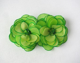 Two chartreuse green roses - silk flower brooch