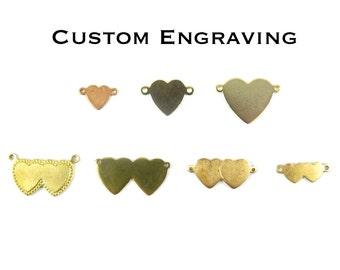 Custom Engraving Heart Charm - Double Bail Connector