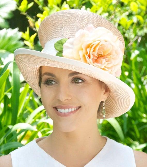 Wedding Hat, Church Hat, Women's Peach Hat, Derby Hat, Mad Hatter, Formal Straw Hat , Cloche, Formal Hat, Ladies Hat, Tea Party Hat