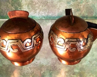 On Sale  Victoria Sterling Taxco Mexico Copper and Sterling Arts and Crafts Cream and Sugar 1950s Mexico