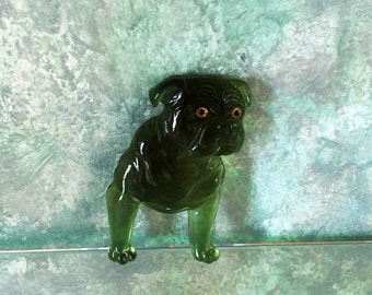 Bulldog Pin 1930s Lucite Bakelite Celluloid Era Green Large Bulldog - Rather Rare and Really Cool