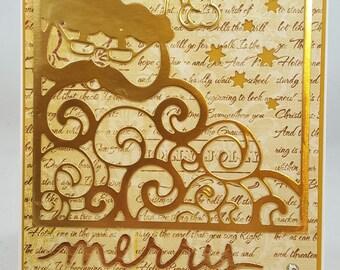 Christmas Santa - Handmade Greeting Card - Christmas Note Card, Cuteness, Holiday, Winter, Gold Santa