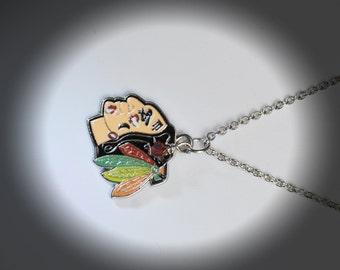 Chicago Blackhawks Necklace/Chicago Blackhawks Jewelry/Chicago Blackhawks Hockey Necklace with Crystal/Chicago Blackhawks Pendant Necklace