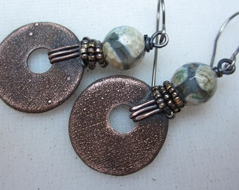 A Dream of Perfect Grace artisan boho copper rustic grungy distressed copper discs agate beads
