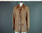 40% OFF 70s Western Leather Blazer Coat Jacket Vintage 1970s Refined Cocoa Brown Buttery Soft Suede Button Front S M