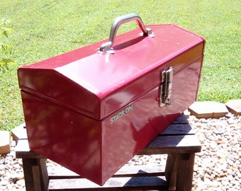 Vintage Indusrial Red Tool Box with Inner Tray