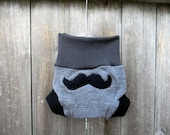 Upcycled Wool Soaker Cover Diaper Cover With Added Doubler Gray /Black  With Mustache Applique NEWBORN 0-3M Kidsgogreen
