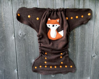 Upcycled  Merino Wool Nappy Cover Diaper Wrap Cloth Diaper Cover One Size Fits Most Brown With Fox Applique/ Brown
