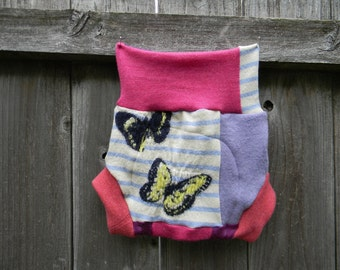 Upcycled  Wool Soaker Cover Diaper Cover With Added Doubler Shabby Chic Girly Patchwork  LARGE 12-24M Kidsgogreen