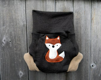 Upcycled Wool Soaker Cover Diaper Cover With Added Doubler Brown/ Beige  With Fox Applique LARGE 12-24M Kidsgogreen