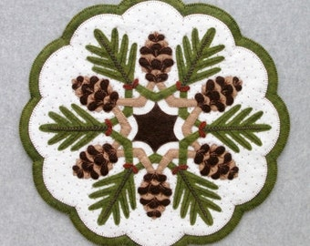 Wool Applique Pattern, Winter Decor, Pine Cones Applique, Table Topper, Pine Cone Decor, Wool Centerpiece, Design and Be Mary, PATTERN ONLY