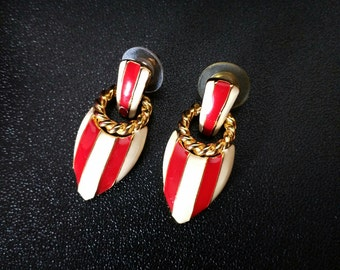 Vintage 80's Red and White Enamel Nautical pierced Earrings
