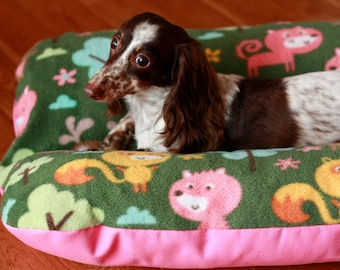 Dog Bed, BUNBED Dachshund Dog Bed, Cute Forest Woodland Animals, Pink Green Fleece, Hot Dog Bed, Fox Deer Raccoon Bear Bed