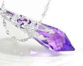 Purple Crystal Necklace Sterling Silver Necklace Swarovski Crystal Amethyst Necklace Violet Purple Pendant Necklace Victorian Jewelry