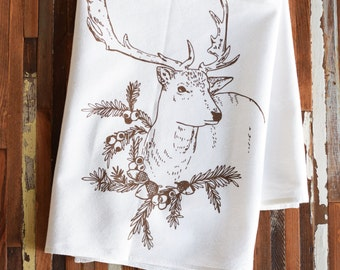 Christmas Towels - Christmas Tea Towels - Kitchen Towels - Printed Tea Towel - Flour Sack Towel - Dish Towels - Deer Tea Towel - Reindeer