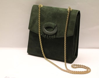 Vintage 80s Italian suede leather forest green purse with gold chain shoulder strap