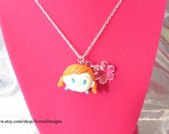 Tsum Tsum Frozen Anna Pendant Necklace Custom made with Swarovski Snowflake Crystal Ready To Ship