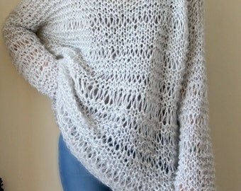 Extra Large Chunky Loose Knit Mohair Sweater, Very Soft Light Grey Knit Sweater, Long Sleeves Sweater, Hand Knit Sweater, Women Sweater