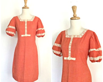 Vintage Crochet Dress - 70s dress - cotton sundress - hippie dress - boho chic - S M