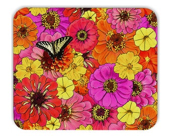 Butterfly mousepad, mouse pad, floral mousepad, pink, orange, yellow, gift for her, unique gift, desk accessory, grad gift, office decor