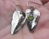 Sterling Silver Textured Leaves with Peridot Bead
