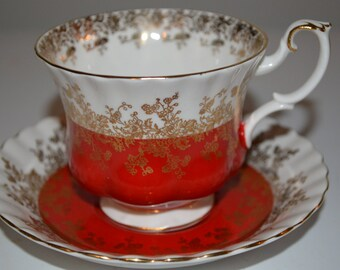 Royal Albert Regal Series cup and saucer - Red -  England - teacup - pretty tea party