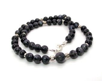 Black Flash Mens Necklace Featuring Natural Larvikite, Mens Black Labradorite Necklace, Mens Larvikite Necklace
