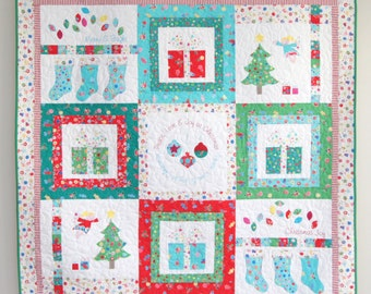 Merry and Bright Christmas Quilt/TableRunner PDF Pattern - Instant Download