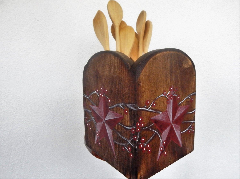 Utensil holder kitchen utensil holder primitive decor - Unique kitchen utensil holder ...