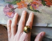 Big Gold Statement Ring, Cocktail Ring Made From a Vintage Gold Button, Antique Button Jewelry, Bohemian Jewelry for Women