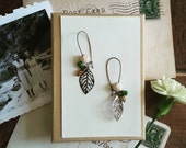 Beaded Leaf Earrings, Long Dangle Earrings Made With Vintage Beads, Filigree Leaf Earrings, Boho Jewelry for Women