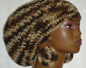 Brown Camo Crochet Large Tam Cap Hat with Drawstring and Disc Earrings by Razonda Lee Razondalee Ready to Ship