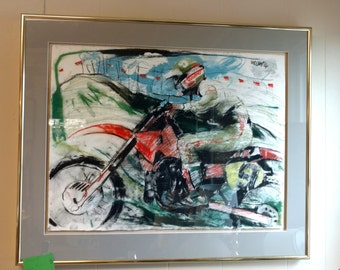 Motor Cross Pastel on Paper signed 1980s #9