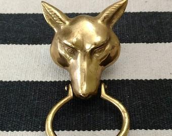 Vintage Brass Fox Door Knocker