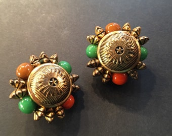 Signed Carnegie Earrings, Vintage Jewelry, Vintage Earrings, Signed Hattie Carnegie Cluster Earrings, Gold Tone Red & Green Clip On Earrings