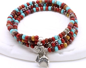 Southwest Colors Cuff - A Turquoise Blue Sky Over a Red Brown Canyon, Czech Glass Seed Beads, Pewter Charms, Memory Wire Bracelet