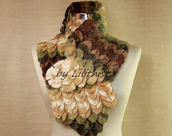 Warm Crochet Scarf Oversized Chunky Scarf Cowl Lace Wrap Shawl, Winter Collar Scarf Neck Warmer, Fall Colors Leaf Scarf Gift Idea For Women