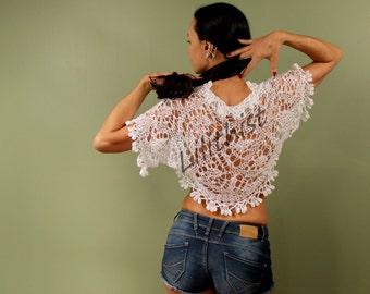 White Shrug, Crochet Bolero, Lace Shrug, Knit Bolero, Crochet Shrug, Summer Shrug, Wedding Bridal Shrug Bolero, Ivory Lace Bolero