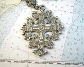Massive Cast Cross Pendant 3-D 1960s Silver Gray Two Sides Different